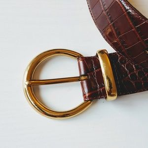 Fossil   Leather Pebbled Gold Buckle Belt - Sz S